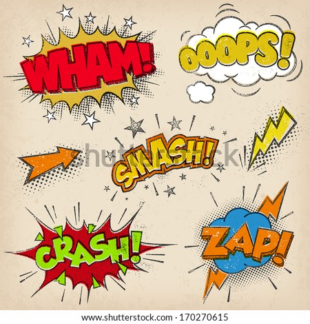 Collection of seven multicolored comic sound Effects with a grunge Print Style - stock vector