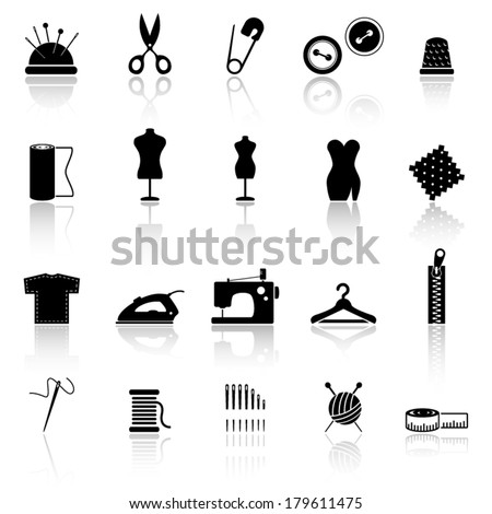 Collection of sewing icons - stock vector
