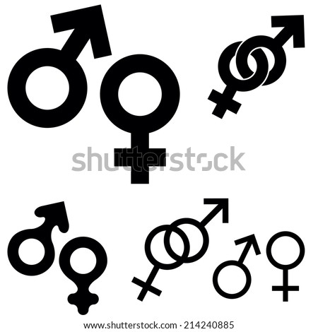 Collection of sex symbols isolated on white background, vector illustration - stock vector