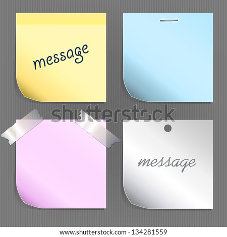 Collection of sheets of paper of different colors. Place for your text. Each object is isolated on a separate layer
