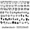 Collection of shoeprint, footprint, animal and bird trails - stock vector