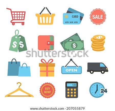 Collection of Shopping Icons in Flat Design Style - stock vector