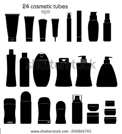 Collection of  silhouette cosmetic tubes isolated on white. Vector - stock vector