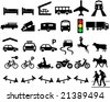 Collection of silhouette symbols for road signs - stock