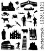 Collection of silhouettes about Italy - stock vector