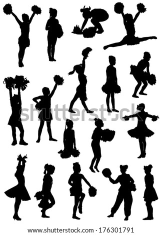 Collection of silhouettes of children of cheerleaders  - stock vector