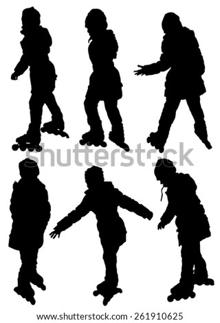 Collection of silhouettes of children on rollers - stock vector