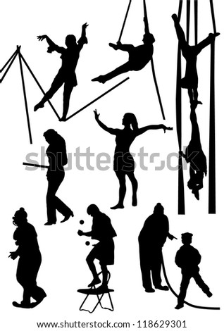 Collection of silhouettes of circus people - stock vector