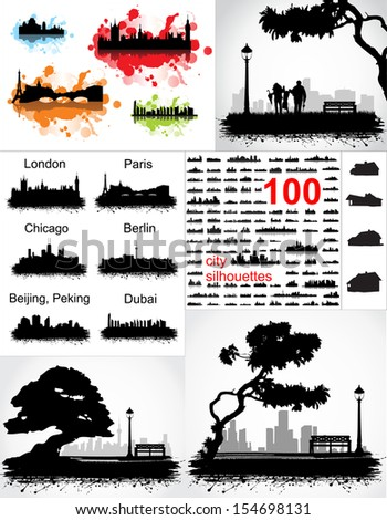 collection of silhouettes of cities and urban landscapes - stock vector