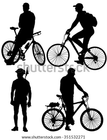 Collection of silhouettes of cyclists - stock vector