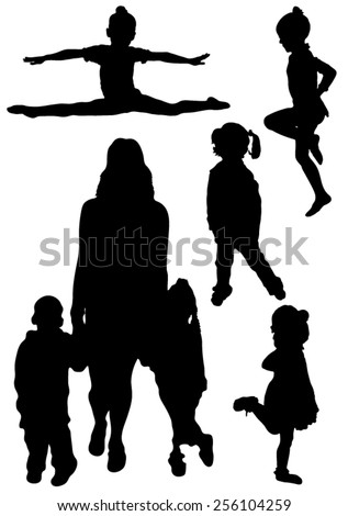 Collection of silhouettes of gymnasts and children - stock vector