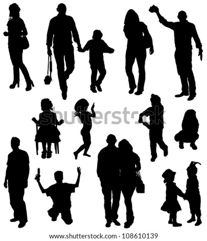 Collection of silhouettes of people and children - stock vector