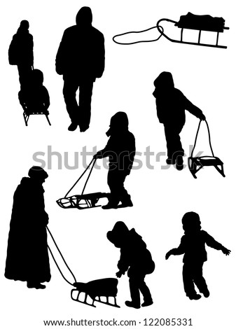 Collection of silhouettes of people and children with a sledge - stock vector