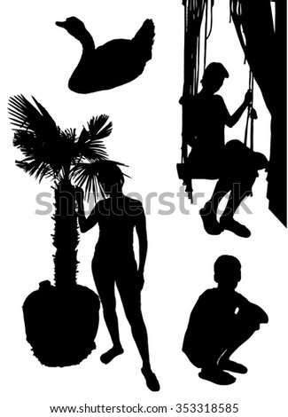 Collection of silhouettes of people on holiday - stock vector