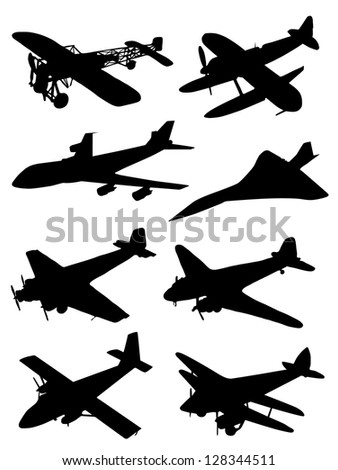 Collection of silhouettes of planes