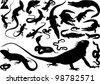 Collection of silhouettes of snakes; crocodiles and lizards (vector illustration); - stock vector