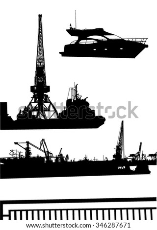Collection of silhouettes of the objects in the seaport - stock vector