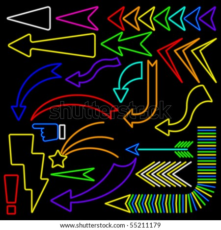 Collection of simple arrows rendered in neon style - stock vector