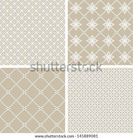 Collection of 4 simple geometric patterns. Vector set. Seamless vector background.