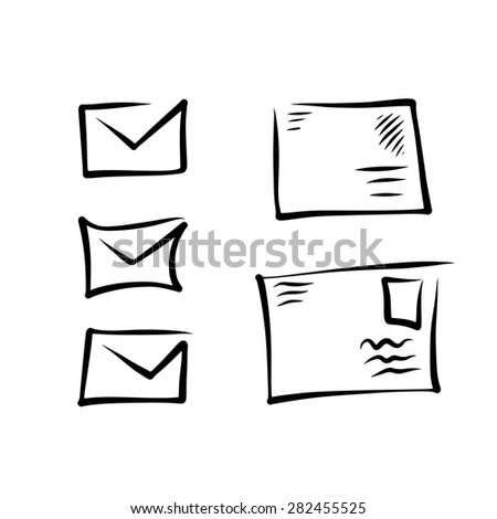 Collection of simple sketched envelope icons. 5in1. Vector. - stock vector