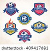 Collection of six colorful Vector football or soccer logo and insignias