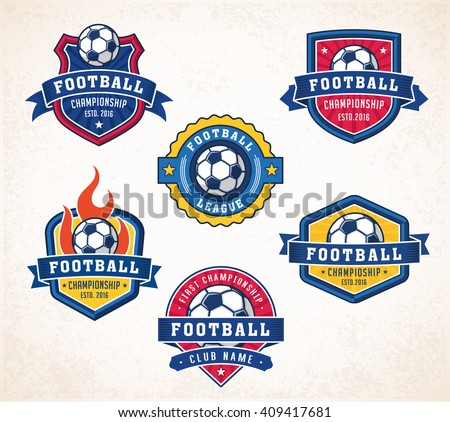Collection of six colorful Vector football or soccer logo and insignias - stock vector