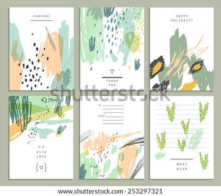 Collection of six cute universal card or invitations. Wedding, marriage, anniversary, birthday, Valentin's day, party. Stylish simple design and trendy colors - stock vector