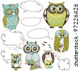 Collection of six different owls with speech bubbles - stock vector