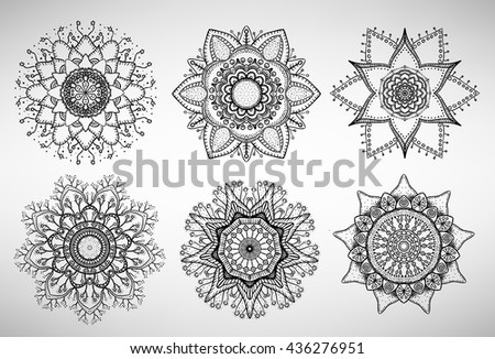 Collection of six doodled mandalas, flower shapes - stock vector