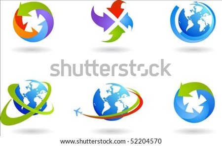 Collection of six globes and global business icons - stock vector