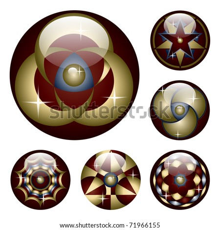 Collection of six glossy buttons. Glossy web buttons in a form of geometric crop circles. - stock vector