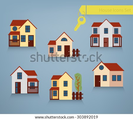 Collection of six houses for renting, sale and property concepts - stock vector