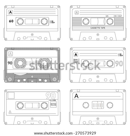 Collection of six outline plastic audio cassette tape. Set of different sketch music tapes. old technology, realistic retro design, vector art image illustration, isolated on white background eps10 - stock vector