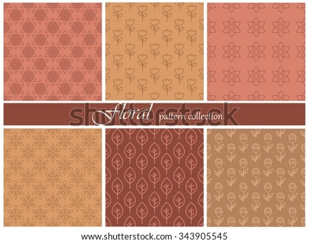 Collection of six seamless floral patterns. Made in red colors. Can be used as wrapping paper