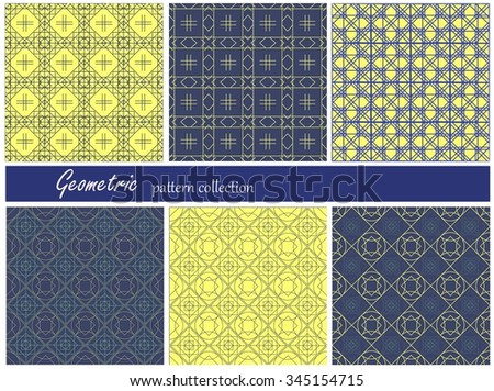 Collection of six seamless geometric patterns. Beige colors. Can be used as wrapping paper. Made in yellow and dark blue colors. - stock vector