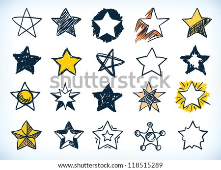Collection of sixteen handdrawn pen and ink stars in various shapes and designs, some with a yellow highlight, on white - stock vector