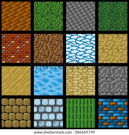 Collection of sixteen seamless pixel ground textures for game platforms. Vector illustration. - stock vector