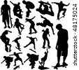 collection of skateboarding vector - stock vector