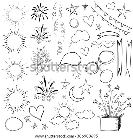 Collection of 47 sketched retro elements. VECTOR colorful illustration isolated on white.  - stock vector