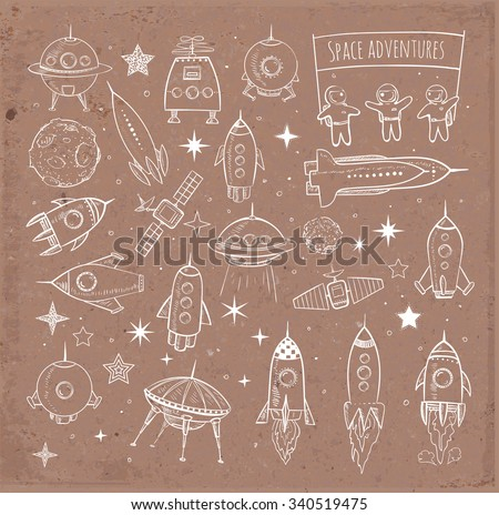 Collection of sketchy space objects isolated on brown parcel craft paper background. Space ships, rockets, space shuttle, planets, flying saucers, astronauts etc.
