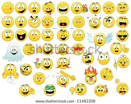 Collection of smiles - stock vector