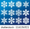 collection of snowflakes (decorative snowflake winter set, white snowflakes) - stock vector