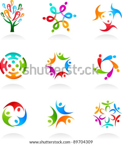 Collection of social media and network icons - stock vector