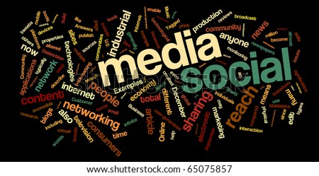 Collection of social media and networking related words for design projects. - stock vector