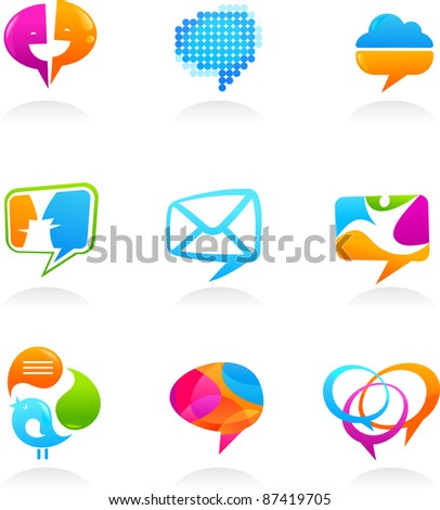 Collection of social media and speech bubbles icons - stock vector