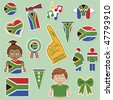 collection of south africa supporter stickers with flags - stock photo