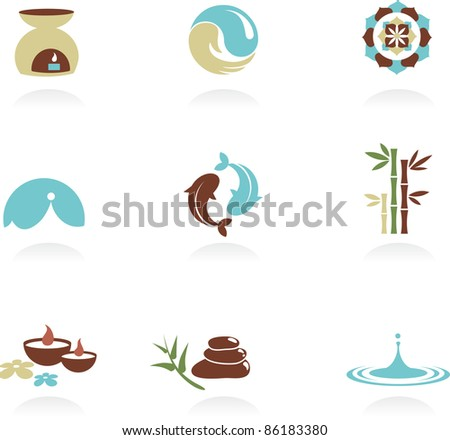Collection of spa and Zen icons - stock vector
