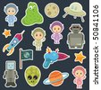 collection of space stickers with robots aliens and astronauts - stock vector