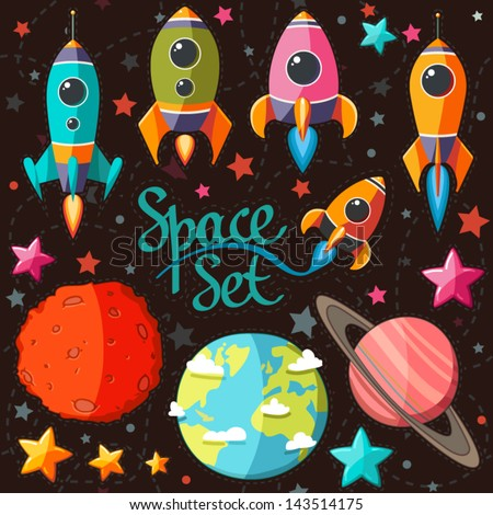 Collection of spaceship, planets and stars. Seamless background . Cartoon space icons. Elements for scrap-booking. Hand drawn vector illustration. - stock vector