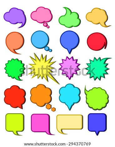 Collection of speech bubbles of various form and colors. Vector.